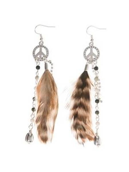 Barfota, øreringer med peace & feather